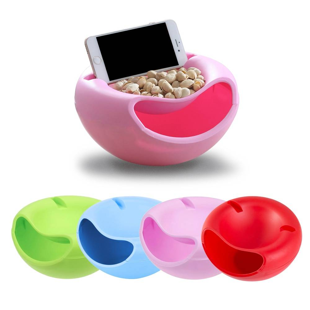 1 PCS Modern Living Room Creative Shape Lazy Snack Bowl Plastic Double Layers Snack Storage Box Bowl Lazy Fruit Plate Bowl
