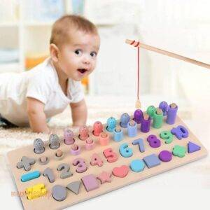 Montessori Educational Wooden Toys For kids Board Magnetic Math Fishing Count Numbers Matching Shape Match Early Education Toy Toys, Kids and Baby color: Black|Green|Red|White