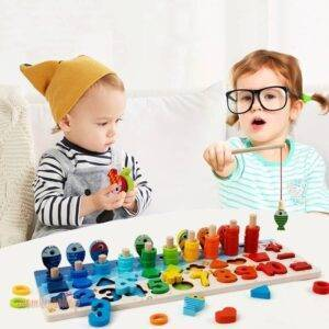 Montessori Educational Wooden Toys For kids Board Math Fishing Count Numbers Matching Digital Shape Match Early Education Toy Toys, Kids and Baby color: Camel|Champagne|Coffee|Colorful|Fluorescent Yellow|Green|Lemon Yellow|Maroon|No box|PEACOCK BLUE|Pinkish Grey|watermelon red|White|with box